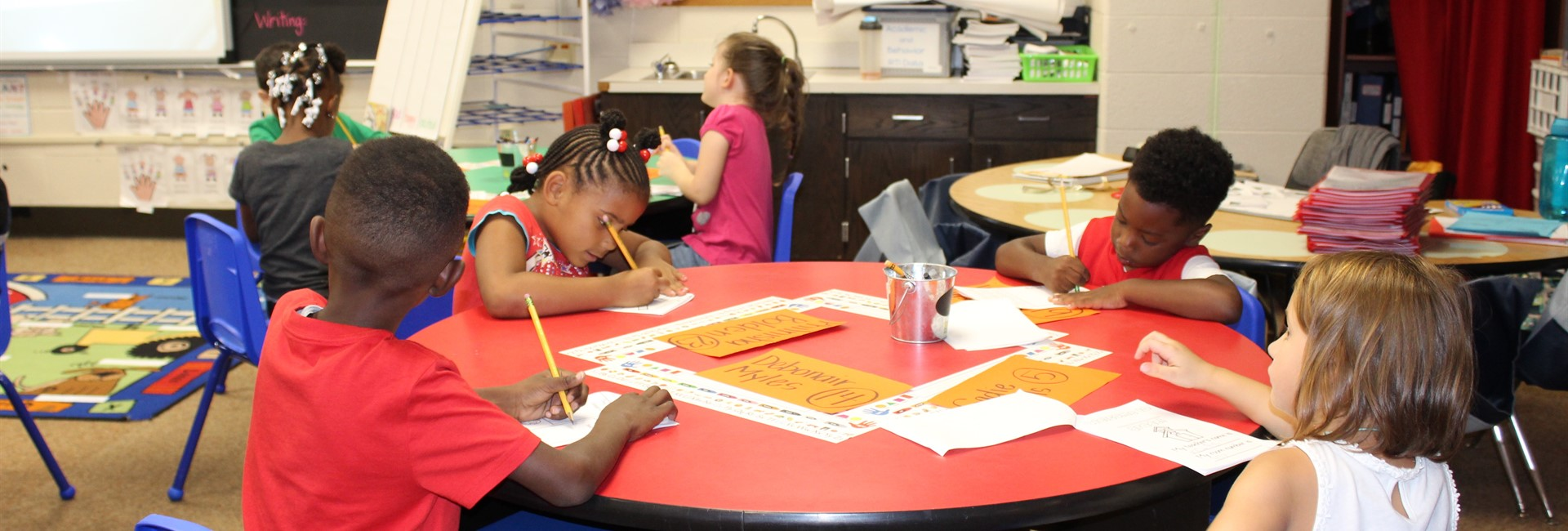Students are hard at work on the first day of school.